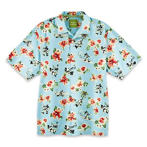 Disney ADULT Shirt - Tommy Bahama - Mickey Mouse Woven Floral - Blue