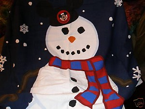 Disney Christmas Holiday Throw Blanket - Mickey Mouse Ears Snowman