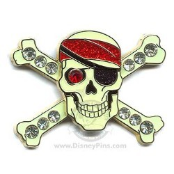 Disney Pirates Pin - Jeweled Skull and Crossbones