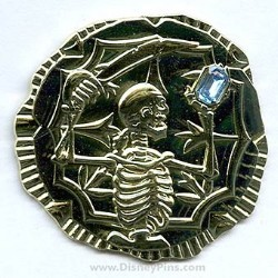 Disney Pirates Pin - Gold Coin with Sapphire Stone