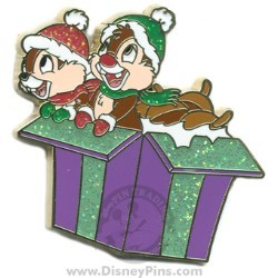 Disney Christmas Pin - Chip and Dale in Present