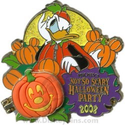 Disney Not So Scary Halloween Party Pin - 2008 - Pumpkin Donald