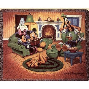 Disney Holiday Throw Blanket - Mickey Mouse Fab 5 Fire Place Hearth
