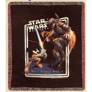 Disney Throw Blanket - Star Wars 2010 Logo Jedi Mickey Boba Fett