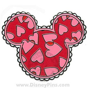 disney mickey mouse icon pin valentines day hearts