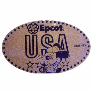 Disney Pressed Penny - Epcot - Mickey Mouse - baseball cap & camera