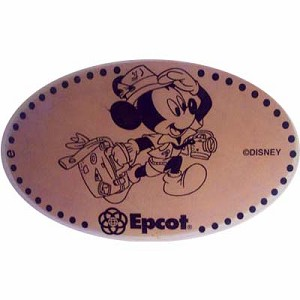 Disney Pressed Penny - Epcot - Tourist Mickey Mouse with suitcase