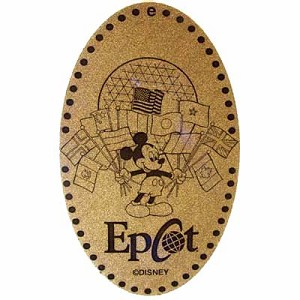 Disney Pressed Penny - Epcot - Mickey Holding Flags with Epcot Ball