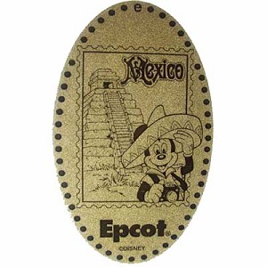 Disney Pressed Penny - Mickey wearing Mexican Sombrero pyramid