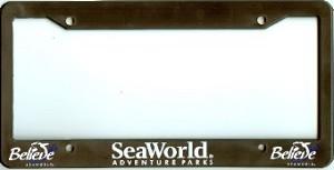 Sea World License Plate Frame Shamu Believe