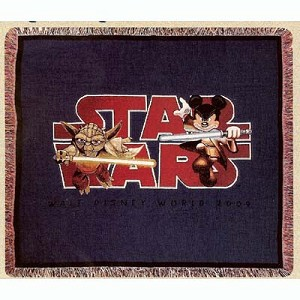 Disney Throw Blanket - Star Wars 2009 Logo Jedi Mickey