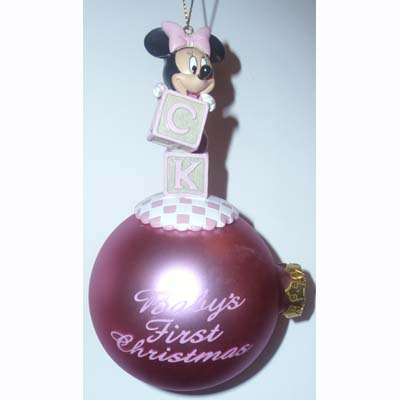 Disney Holiday Ornament - Minnie Mouse - Baby's First Christmas - Blocks