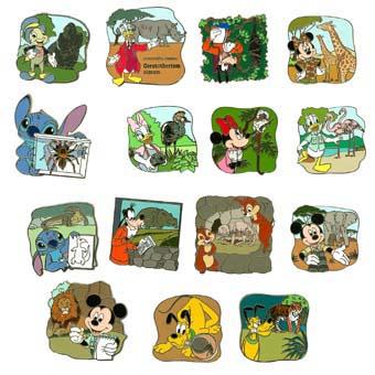 Disney Mystery Pin Animal Kingdom 15 Complete Pin Set