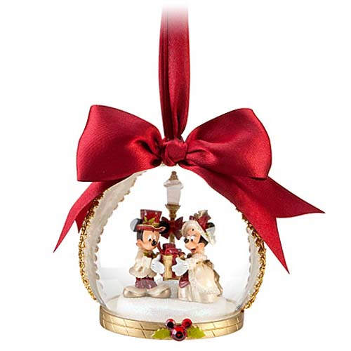 disney christmas holiday ornament victorian mickey minnie dome - Mickey And Minnie Christmas Decorations