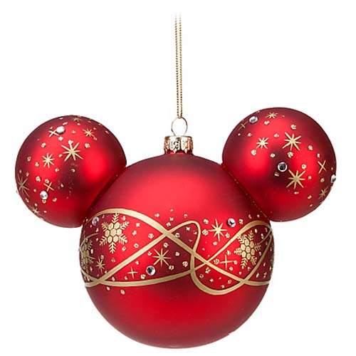 disney christmas ornament mickey ears large red w gold pixie dust - Large Red Christmas Decorations