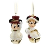 Disney Christmas Ornament Set - Victorian Mickey Minnie - Jingle Bell