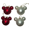 Disney Holiday Ornament - Mickey Mouse Ears Set - Red White Snowflakes