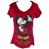 Disney Womens Tee Shirt - Red Mickey Mouse Christmas Lights