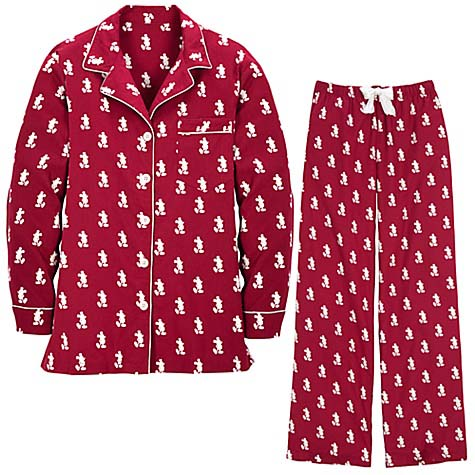 disney pajamas and pants santa mickey mouse red white