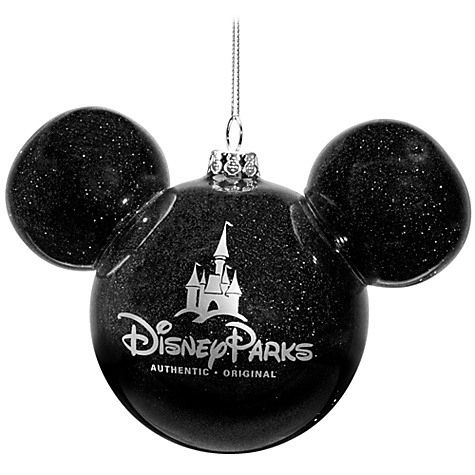 disney christmas ornament mickey mouse ears ball black glitter - Disney Christmas Ears