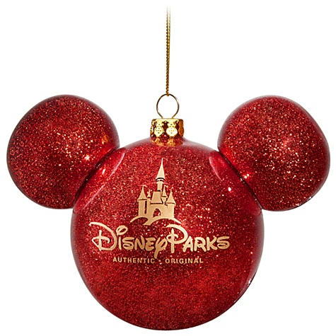 - Disney Christmas Ornament - Mickey Mouse Ears Ball - Red Glitter