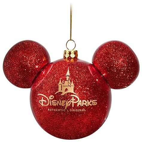 disney christmas ornament mickey mouse ears ball red glitter - Mickey Mouse Christmas Ornaments