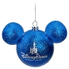 Disney Christmas Ornament - Mickey Mouse Ears Ball - Blue Glitter