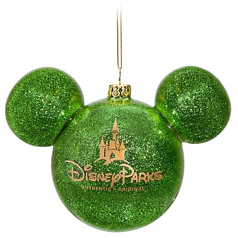 Disney Christmas Ornament - Mickey Mouse Ears Ball - Green Glitter