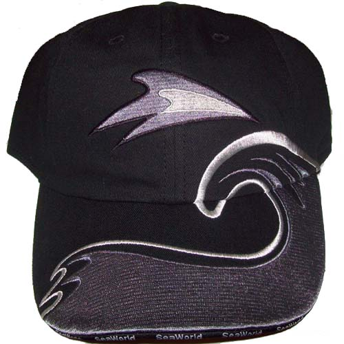 SeaWorld Baseball Cap - Shamu Black White Silver Logo Design