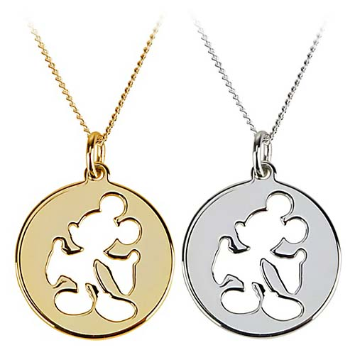 Disney Necklace Silhouette Cutout Mickey Mouse Gold