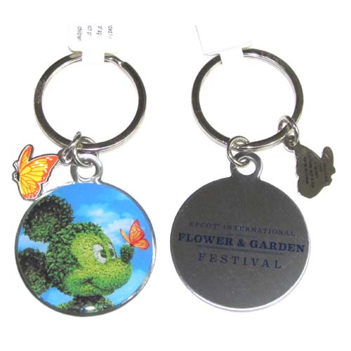Disney Key Chain Ring - Flower and Garden Festival - Mickey Topiary
