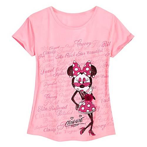 f1a9a1e1 Add to My Lists. Disney Ladies Shirt - ''Ooh La La'' Fashion Glitter Minnie  Mouse Tee