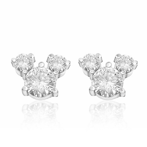 Disney Earrings Cubic Zirconia Mickey Mouse Sterling Silver
