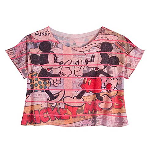 9b2d88012d649 Disney Ladies Crop Top - Comic Strip Minnie Mouse and Mickey Mouse