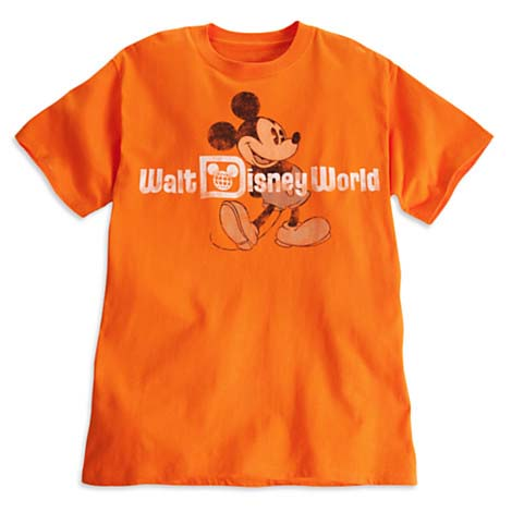 Disney ADULT Shirt - Mickey Mouse Tee - Classic Logo - Orange