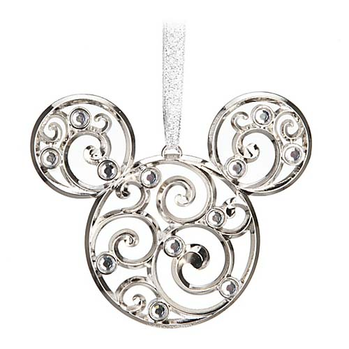 Disney Disc Ornament - Bohemian Filigree Mickey Mouse Ornament Silver