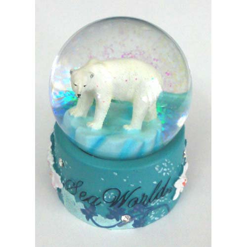 SeaWorld Snow Globe - Wild Artic Polar Bear - Flowers