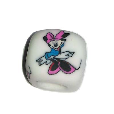 Disney Bead for Bracelet - Minnie Mouse with Pink Bow - White Bead