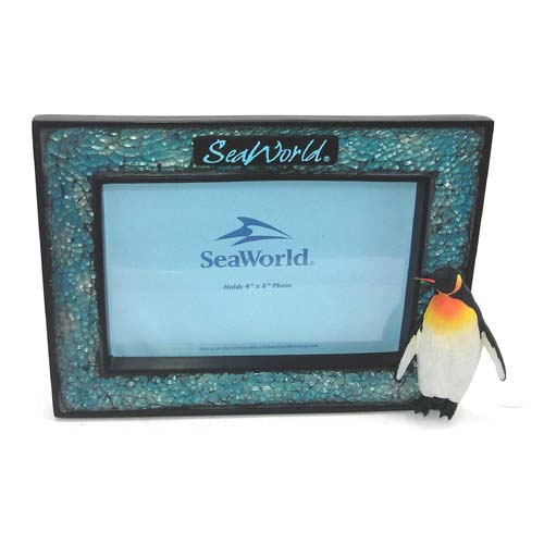SeaWorld Picture Frame - Penguin Mosaic Blue