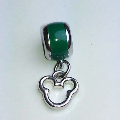Disney Bead for Bracelet - Silver Metal Icon Dangle - Green