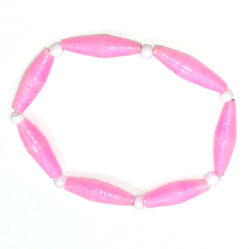 Disney EPCOT Recycled Paper Bracelet - Light Pink - Long Thin Beads