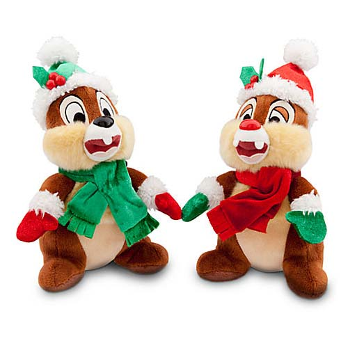 Disney Christmas Plush Happy Holidays 2013 Santa Chip Dale