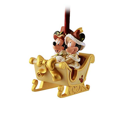 Disney Christmas Ornament - Victorian Mickey & Minnie Mouse Sleigh