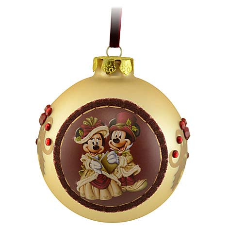 Christmas Carol Singers Ornaments.Disney Christmas Ornament Victorian Mickey Minnie Mouse Ball