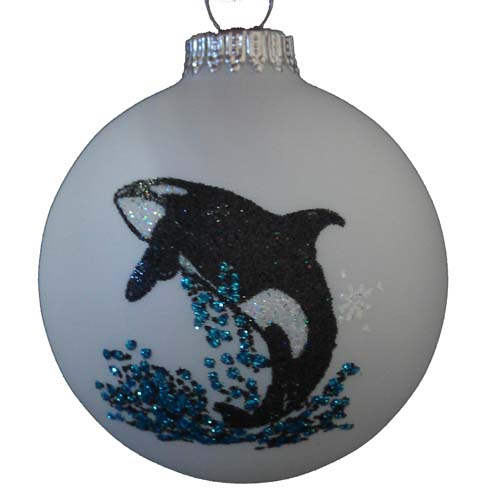 SeaWorld Christmas Ornament - Blown Glass - Hand Painted - Orca