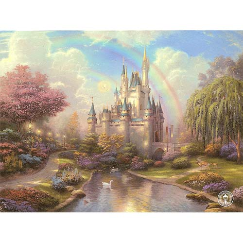 Disney Postcard Thomas Kinkade A New Day At Cinderella Castle