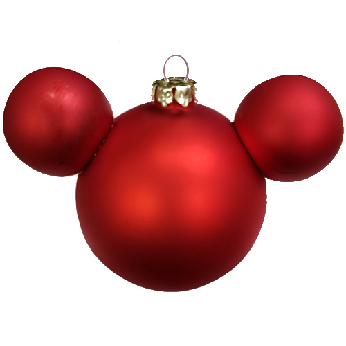 disney christmas ornament mickey mouse ears ball matte red satin