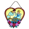 Disney Stained Glass Sun Catcher - Cinderella & Prince - Heart