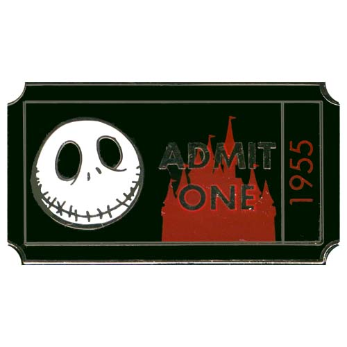 disney mystery pin admit one ticket pass jack skellington chaser