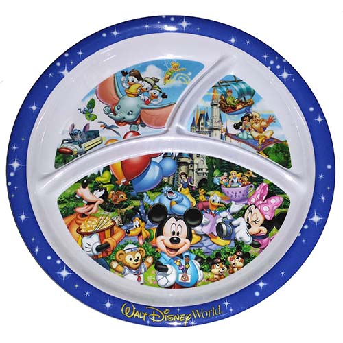 Disney Plastic Plate - Magic Kingdom Plate - Logo - Sectioned